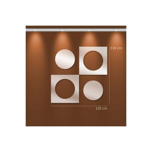 Declikdeco Miroir géométrie Gm argenté en verre Tracey 115 x 115 cm