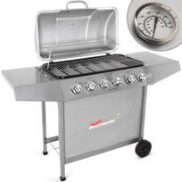 broil-master - Barbecue à gaz avec 6 brûleurs principaux, en argenté