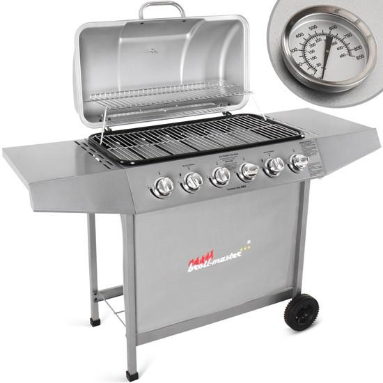 Barbecue à gaz avec 6 brûleurs principaux, en argenté