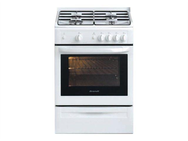 Brandt cuisinière gaz 53l 4 feux blanc - kge1000w