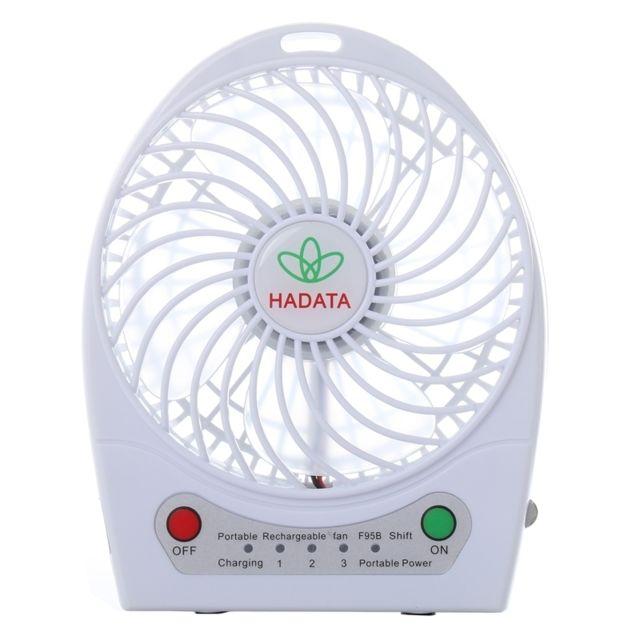 Ventilateur blanc 4,3 pouces Portable Usb Li ion à piles rechargeable avec troisième réglage de la vitesse du vent et Clip