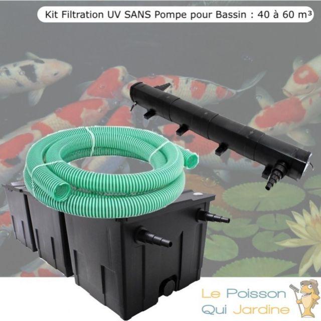 Le Poisson Qui Jardine Kit Filtration Uv Sans Pompe pour Bassin : 40 à 60 m Option : Pack Bactéries & Activateur Biologique - Sans Pack Bactéri