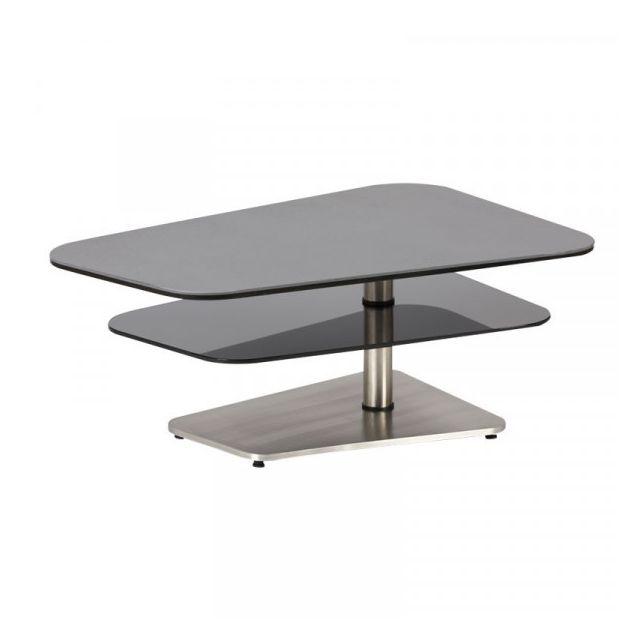 Dansmamaison Table basse Verre/Métal - Brassom - L 100 x l 65 x H 40 cm