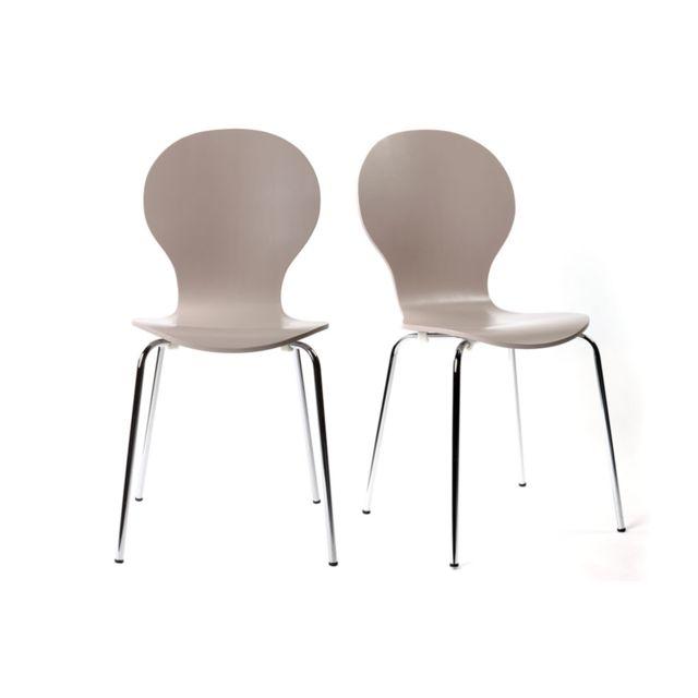 Miliboo Lot de 2 chaises design empilables taupes New Abigail