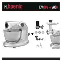 HKOENIG - Robot pétrin KM80 S Silver + Accessoires Koenig 1000W