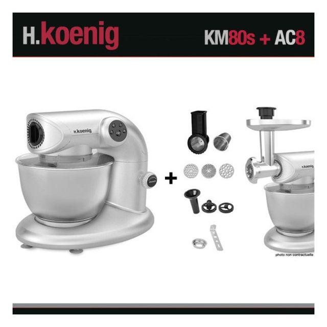 HKOENIG Robot pétrin KM80 S Silver + Accessoires Koenig 1000W