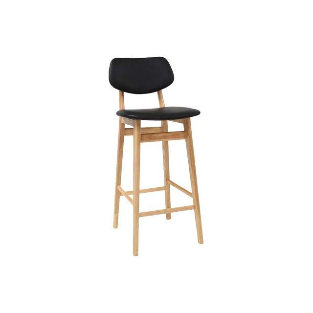 Miliboo - Chaise de bar design noire et bois naturel 65 cm Nordeco ... 616606cda77f