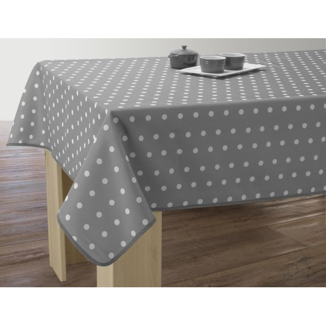 le linge de jules nappe anti taches pois gris taille rectangle 120x150 cm 120cm x 150cm. Black Bedroom Furniture Sets. Home Design Ideas