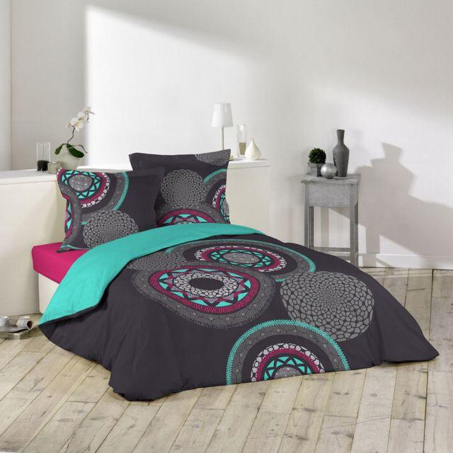 sans marque housse de couette 200 x 200 cm taies cosmic pas cher achat vente housses. Black Bedroom Furniture Sets. Home Design Ideas