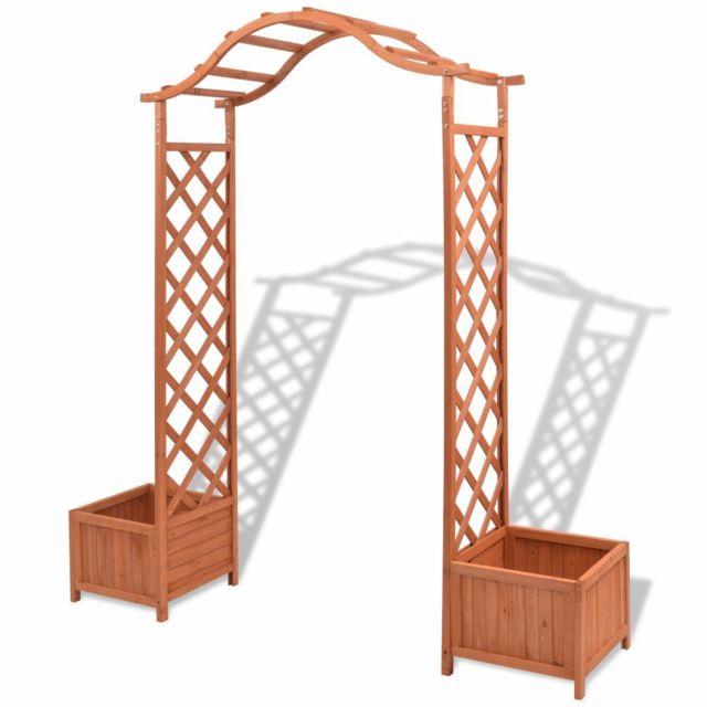 vidaxl arche pour rosiers avec jardini res treillis. Black Bedroom Furniture Sets. Home Design Ideas
