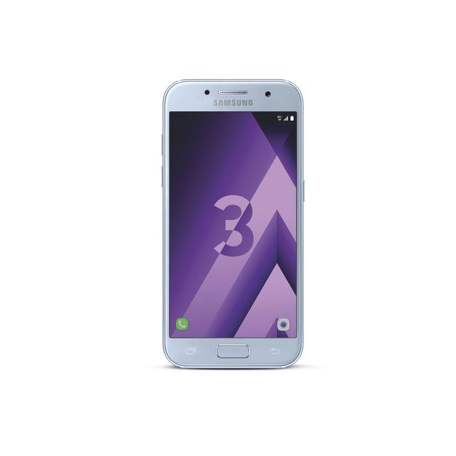 """Samsung Galaxy A3 2017 - Bleu Débloqué et compatible tous opérateurs - Ecran tactile Super AMOLED 4,7"""" en 720 x 1280 pixels (312 ppp) - Corning Gorilla Glass - Android 6.0 Marshmallow - InterfaceSamsung TouchWiz - Processeu"""