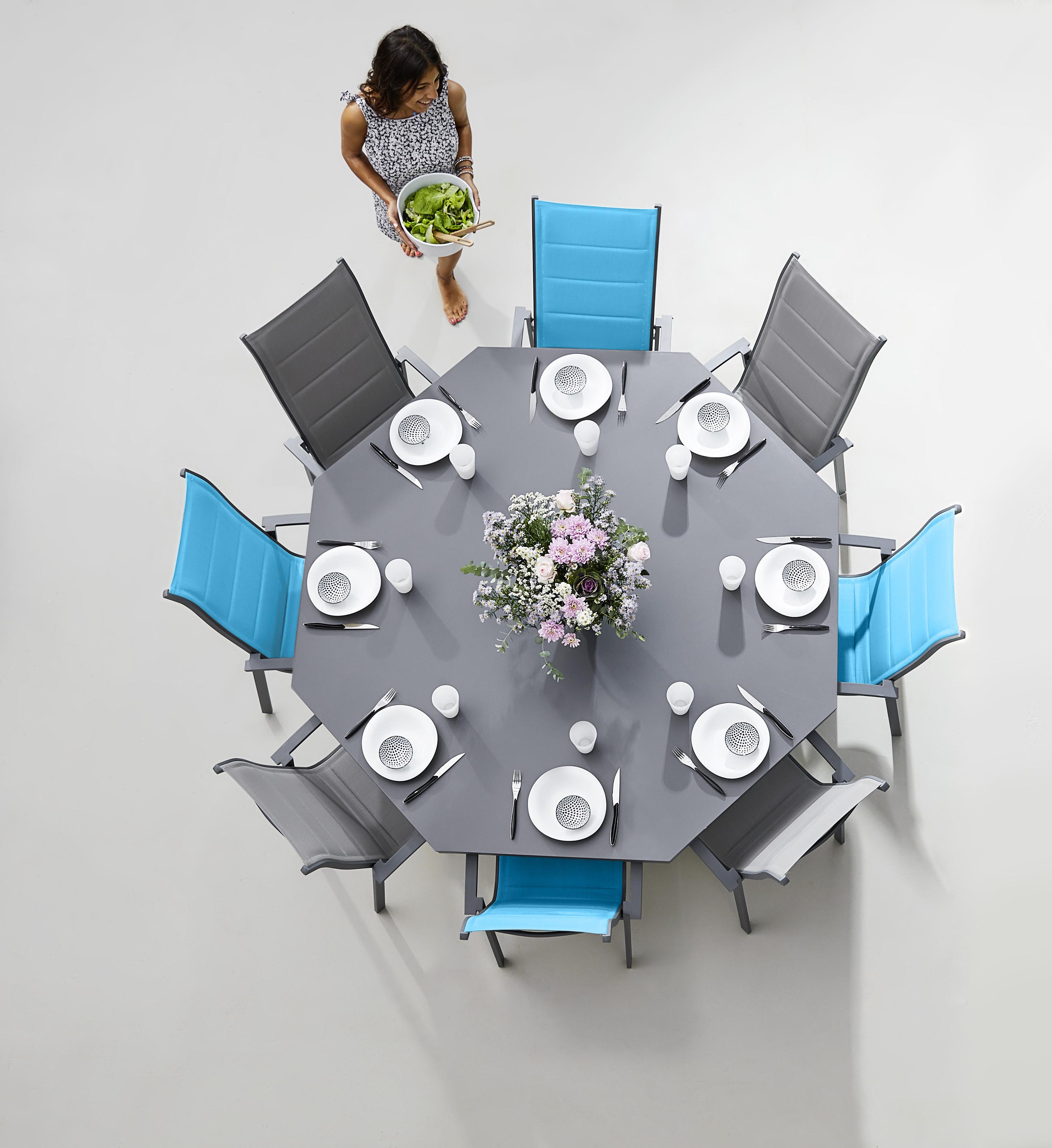 HYBA - Table octogonale Canberra Gris - 166cm x 74cm x 166cm ...