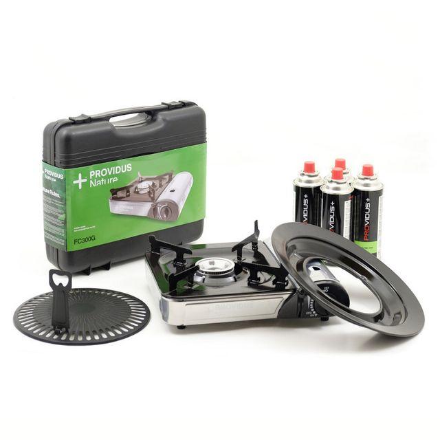 Providus - Barbecue gaz grill combiné piezo + 4 cartouche gaz 230g gaz butane mix baillonnette 1