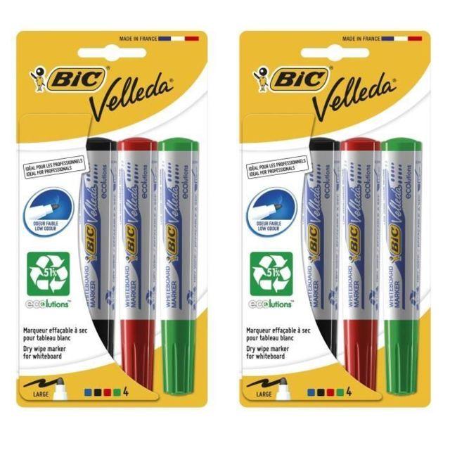 - Fine Couleurs Assorties BIC Velleda Feutres Effa/çables /à Sec 4 bleu, 3 noir,1 rouge Blister de 8 feutres