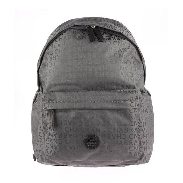 Chabrand - Sac à dos en toile grise monogrammé