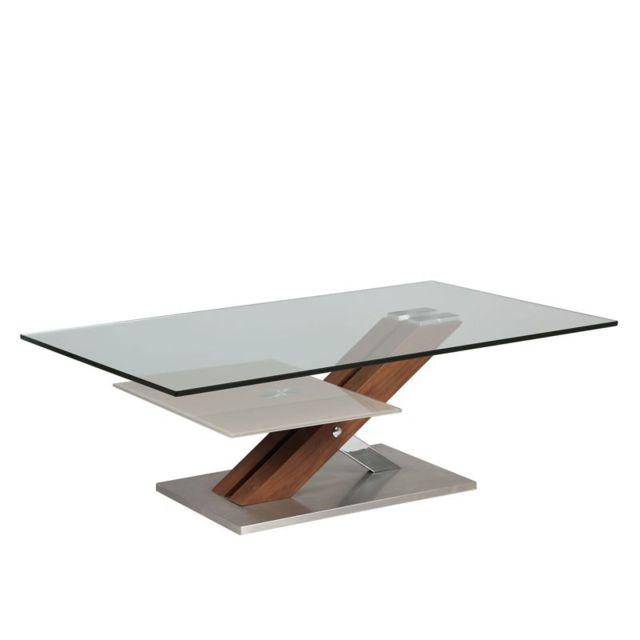 Tousmesmeubles Table basse en verre et bois - Ray