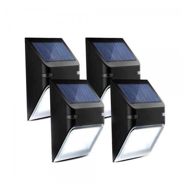 Alpexe 4 Pack Eclairage Solaire Imperméable Panneau Avec Capteur De Lumière Luminaire Exterieur Lique Murale 5 5v 0 4w S Pas Cher Achat