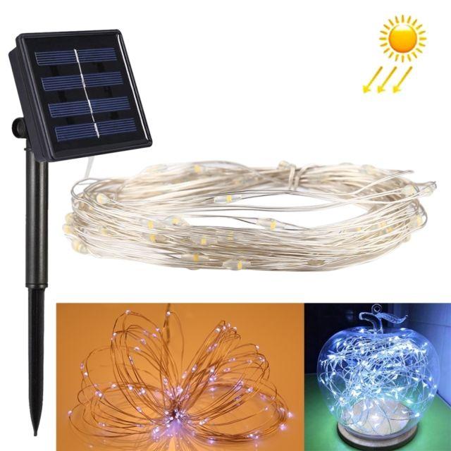 Wewoo Guirlande 10m 100 Leds Smd 0603 Ip65 étanche panneau solaire fil d'argent chaîne fée lampe lumière décorative blanche
