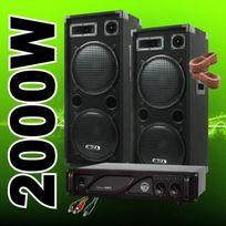 Ibiza Sound - New Pack 2000 avec 2 Enceintes 1000W + 1 Ampli Sono + Cables