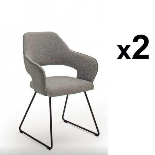 Inside 75 Lot de 2 chaises design Nabas tissu gris pieds traîneau laque anthracite