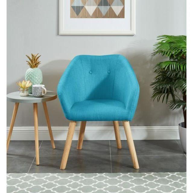 FAUTEUIL HILDA Fauteuil - Tissu bleu turquoise - Scandinave - L 62 x P 60 cm