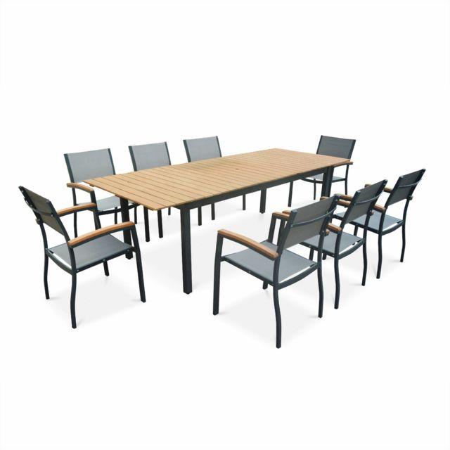 ALICE'S GARDEN Salon de jardin en bois et aluminium Sevilla, grande table 200-250cm rectangulaire avec allonge papillon, textilène gris
