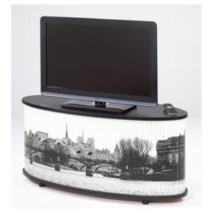 simmob meuble tv noir grand ecran coloris quais de seine 752 pas cher achat vente. Black Bedroom Furniture Sets. Home Design Ideas