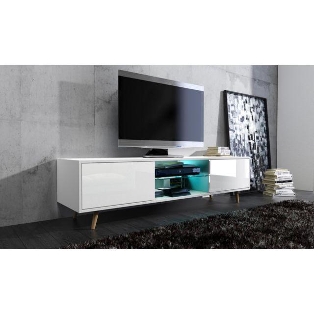 Vivaldi Sweden Meuble Tv Style Scandinave Blanc Mat Avec Blanc