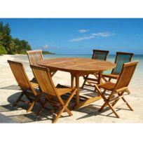 Bois Dessus Bois Dessous - Salon de jardin en teck huilé 6 à 8 personnes - Table ronde/ovale + 6 chaises pliantes
