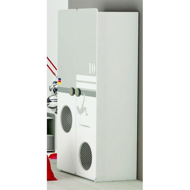 Modern Design - Armoire 2 Portes Foot Blanc Perle