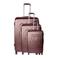 Route 66 - Set de 3 Valises Abs 4 Roues 50/60/70 cm Chocolat