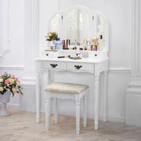 Langria   Coiffeuse Meuble Maquillage Avec 3 Miroirs 4 Tiroirs Blanc