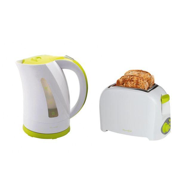 Domoclip Grille pain Blanc/Vert 2 fentes 750W + Bouilloire 2200W sans fil Blanc/Vert 1,7L