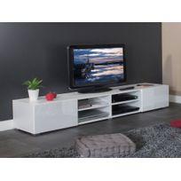 Symbiosis - Meuble Tv 4 niches 2 tiroirs en bois L185xP42xH31cm Glossy