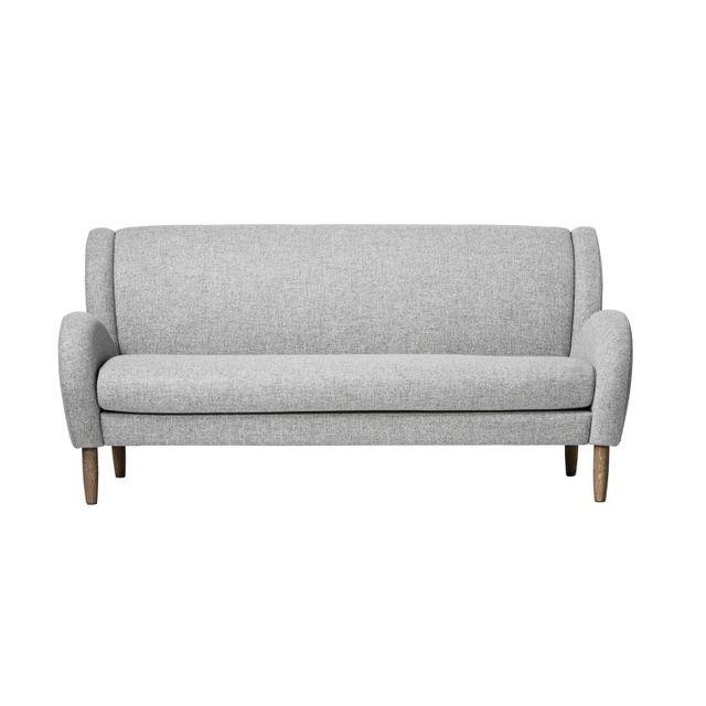 BLOOMINGVILLE Canapé 3 places en tissu gris clair et pieds en chêne foncés Collection Chill