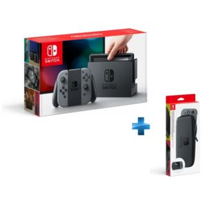 NINTENDO - Console Switch avec une paire de Joy-Con Gris + Set d\'accessoires pochette de transport et protection d\'écran Switch