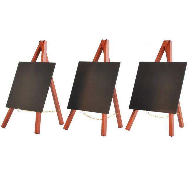Securit Mini tableau à craie sur chevalet - Finition laquée - Acajou - Lot de 3