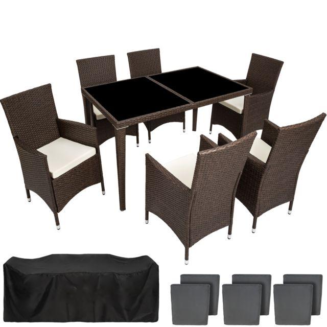 Salon de Jardin 6 Places avec 1 Table à manger en Résine Tressée et  Aluminium Marron Foncé