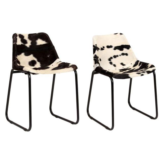 Superbe Fauteuils collection Oslo Chaise de salle à manger 2 pcs Cuir véritable de chèvre