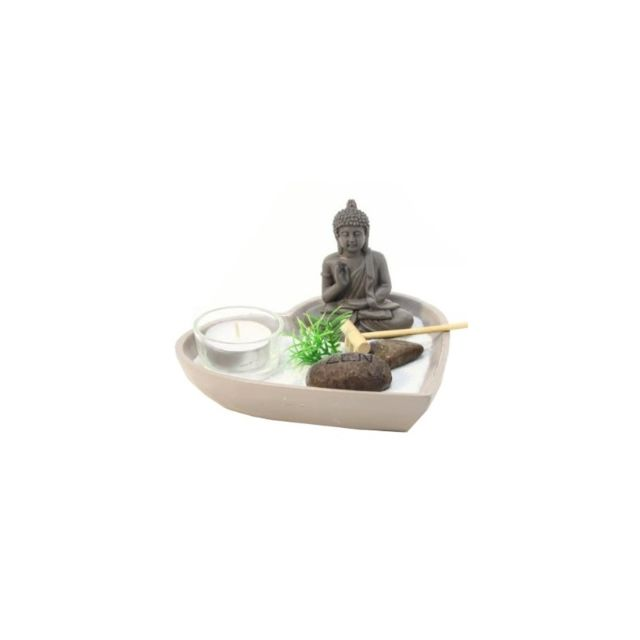 Jardin zen coeur - Taupe - Objet de décoration avec accessoires