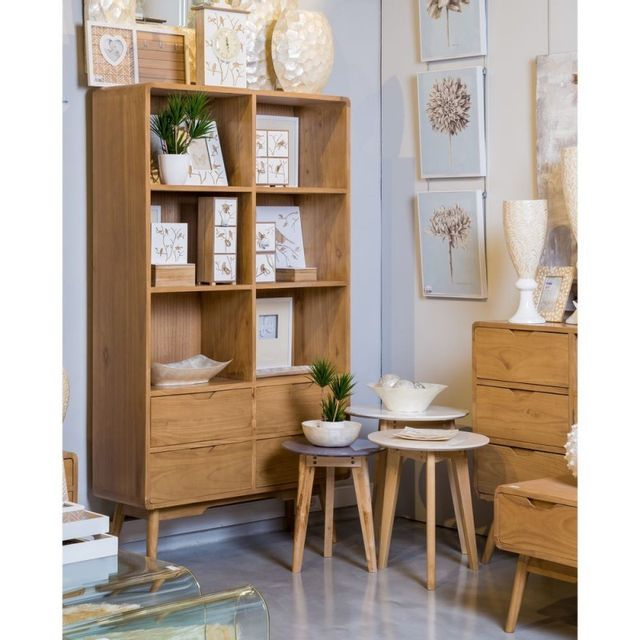 Ma Maison Mes Tendances Bibliothèque Arella en mindy 4 tablettes 4 tiroirs - L 100 x l 35 x H 180
