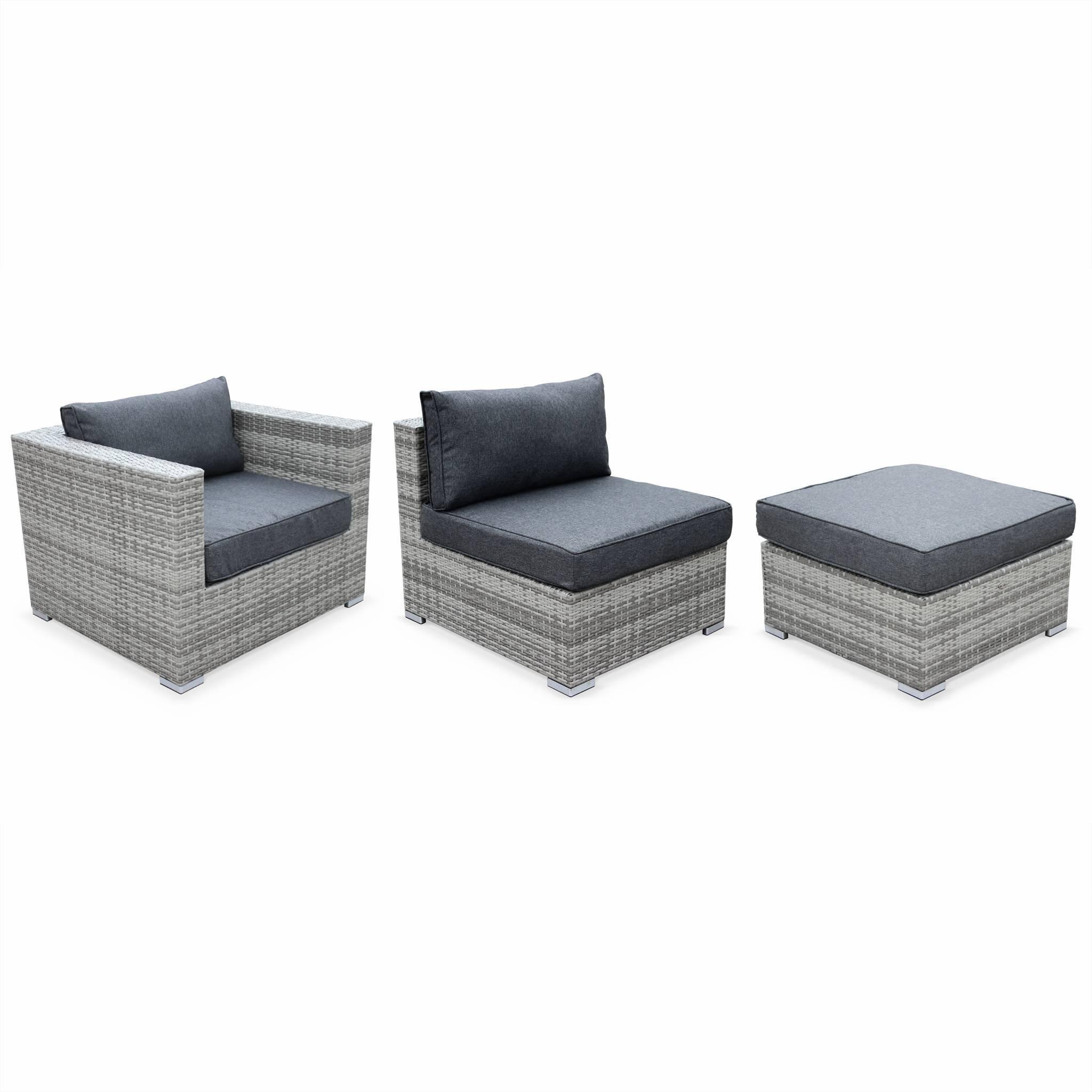 Tripoli Nuances de gris / Gris - Salon de jardin en résine tressée nuances de gris XXL 14 places fauteuil canapé géant
