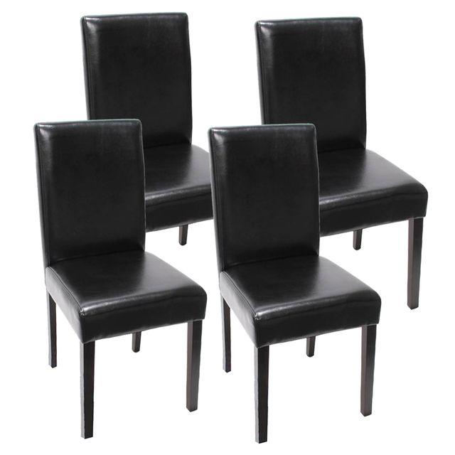 Lot de 4 chaises de séjour Littau, simili cuir, noir, pieds foncés