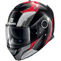 Shark - casque moto intégral en Carbone Spartan Carbon Bionic Dra noir rouge blanc brillant Xl
