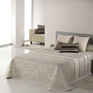 100pourcentcoton couvre lit 235x270 cm tiss jacquard corey beige pour lit de 140x190 cm. Black Bedroom Furniture Sets. Home Design Ideas