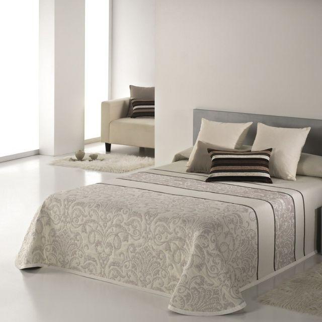 100pourcentcoton couvre lit 235x270 cm tiss jacquard. Black Bedroom Furniture Sets. Home Design Ideas