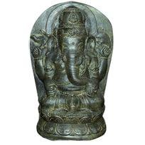 Les Animaux De La Fee - Statue Ganesh Assis 28CM En Pierre Reconstituee Antique