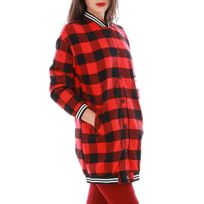 Lamodeuse - Teddy long motif bucheron rouge et noir