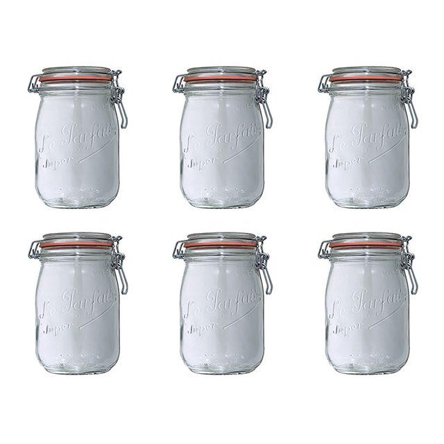 LE PARFAIT lot de 6 bocaux en verre 1l - 900507