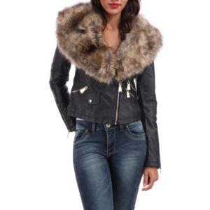 Vente veste cuir femme col fourrure